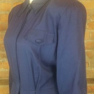 Vintage Women's 80s Dress Navy Shirt Dress Button